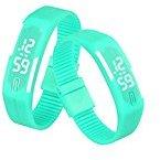 Voberry® Mens Womens Rubber LED Watch Date Sports Bracelet Digital Wrist Watch (Mint Green)