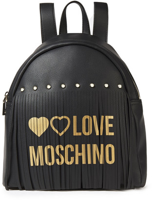 Love Moschino Fringed Printed Faux Leather Backpack
