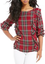 Sanctuary Scout Ruffle Plaid Blouse