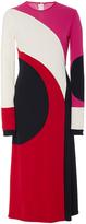 Naeem Khan Long Sleeve Swirl Front Slit Dress