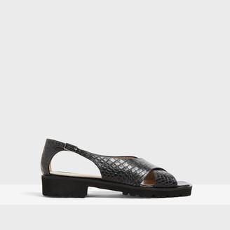 Theory Cross Lug Sandal in Croc Print Leather