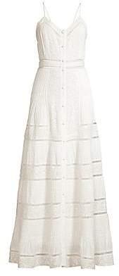 Alice + Olivia Women's Meg Embroidered Pintuck Crochet-Trim Button-Front A-Line Dress