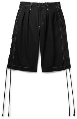Flagstuff Wide-Leg Pleated Webbing-Trimmed Cotton-Blend Shorts