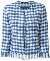 Tagliatore frayed check jacket - women - Cotton/Polyamide/Polyester - 40