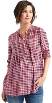 Plaid long sleeve pintuck shirt