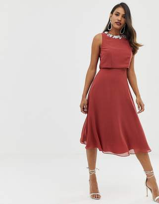 Asos Design DESIGN sleeveless midi dress with delicate pearl embellished neck-Red