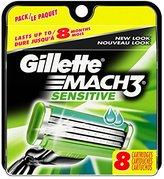 Gillette Mach3 Power Men's Razor Blade Refills, Sensitive, 8 Count (packaging may vary)