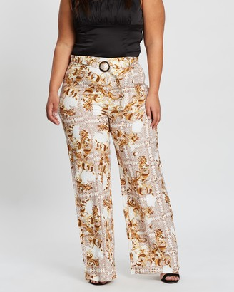 Missguided Curve Paisley Scarf Palazzo Pants