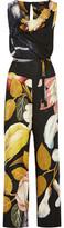 Vivienne Westwood Belted Printed Gauze Jumpsuit - Black