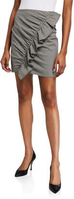 A.L.C. Jupiter Gingham Ruffle-Front Mini Skirt