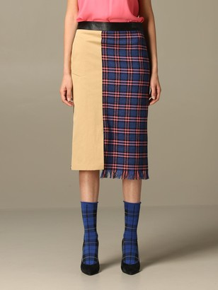 Boutique Moschino Skirt Moschino Boutique Midi Skirt In Check Mix Wool Blend