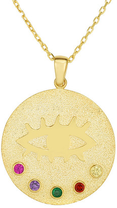 Sphera Milano 18K Over Silver Cz Medallion Evil Eye Necklace