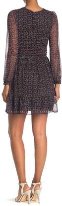 Max Studio Long Sleeve Chiffon Dress