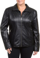 Excelled Leather Excelled Lambskin Scuba Jacket with Zip Pockets - Plus