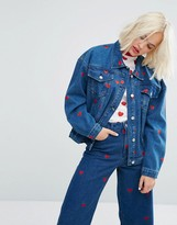 Lazy Oaf Oversized Denim Love Jacket With All Over Hearts Co-Ord