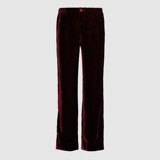 F.R.S For Restless Sleepers Red Etere Velvet Wide-Leg Trousers Size L