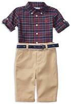Ralph Lauren Infant Boys' Plaid Poplin Shirt, Chino Pants & Jacquard Belt Set - Sizes 3-12 Months