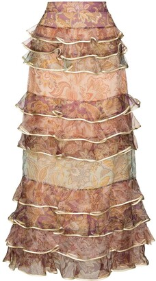 Zimmermann Lucky tiered midi skirt