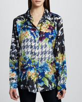 Johnny Was Collection Mixed-Print Georgette Top