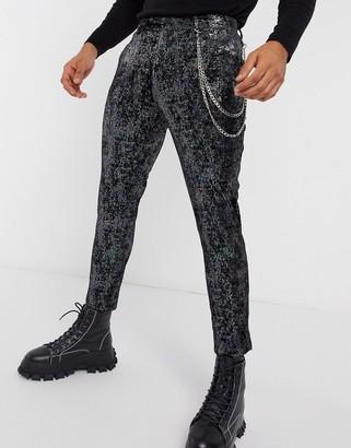 ASOS DESIGN super skinny velvet smart trouser without chain