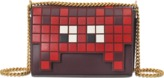 Anya Hindmarch Ephson Shoulder Space Invaders Flap in Burgundy Silk Calf with Shearling