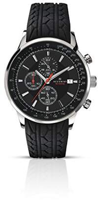 Accurist Men's Quartz Watch with Black Dial Chronograph Display and Black Rubber Strap 7001.01