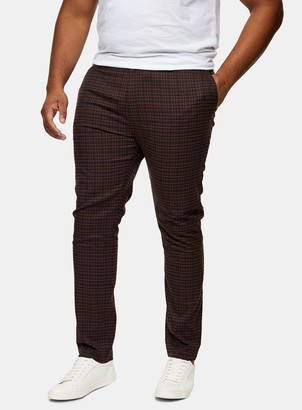 Topman BIG & TALL Brown Heritage Check Stretch Skinny Trousers*