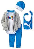 Puma Bodysuit, Ruffle Bottom Jacket, Pant, Bib, & Hat Set (Baby Girls 0-9M)