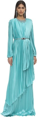 Gucci Plisse Satin Long Dress W/ Crystals