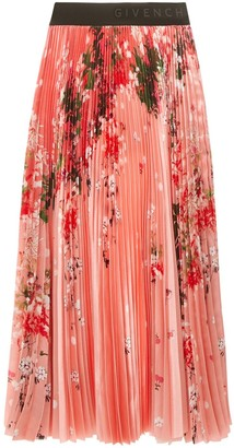 Givenchy Floral Printed Pleated Skirt