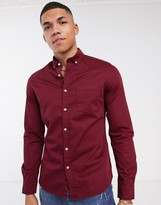 Asos Design DESIGN stretch slim denim shirt in burgundy