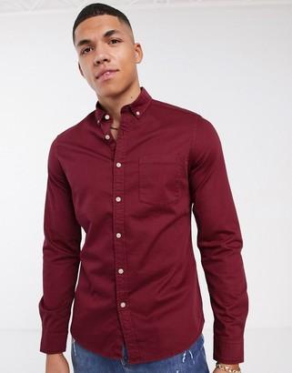 Asos DESIGN stretch slim denim shirt in burgundy