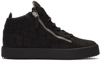 Giuseppe Zanotti Black Croc Kriss High-Top Sneakers