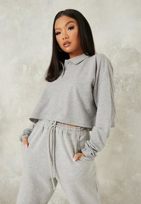 Missguided Marl Extreme Oversized Slouch Polo T Shirt