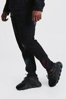 boohoo Mens Black Big And Tall Skinny Spray Paint Jean, Black
