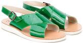 Pépé crossover strap sandals - kids - Leather/Patent Leather/rubber - 23
