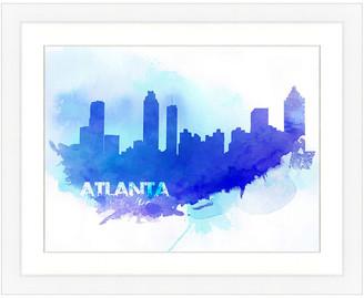 Vintage Print Gallery Atlanta Skyline Framed Graphic Art