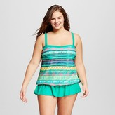 Surfside Women's Plus Size Tribal Stripe Blouson Tankini Top Teal - VM