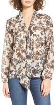 BP Women's Print Tie Neck Blouse
