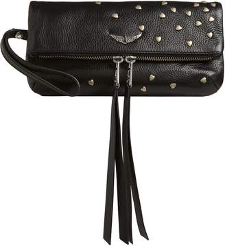Zadig & Voltaire Rocky Heart Stud Leather Clutch