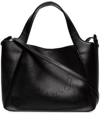 Stella McCartney black Stella Logo perforated faux leather cross body bag