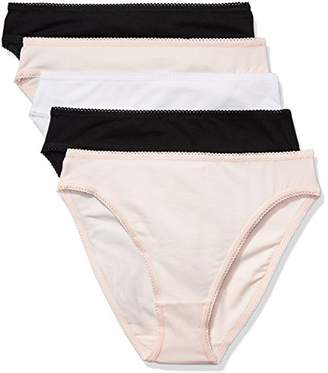 Iris & Lilly Women's Cotton High Leg Brief, Pack of 5 Multicoloured (soft pink/White/) Medium