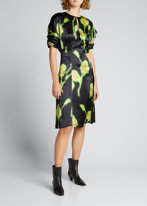 Meryll Rogge Floral-Print Keyhole Midi Dress