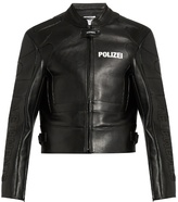 Vetements Polizei-print panelled leather jacket