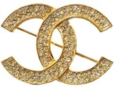 Chanel Gold Tone and Rhinestone CC Brooch