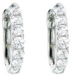Pave Diamond Huggies in White Gold