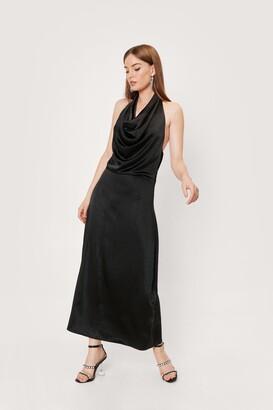 Nasty Gal Womens Slinky Cowl Neck Backless Maxi Dress