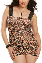 Dreamgirl Leopard Lace-Up Chemise & Thong - Plus