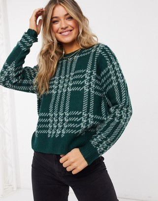 JDY knitted jumper in green check