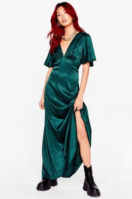 Nasty Gal Womens Living Wild Zebra Maxi Dress - Emerald